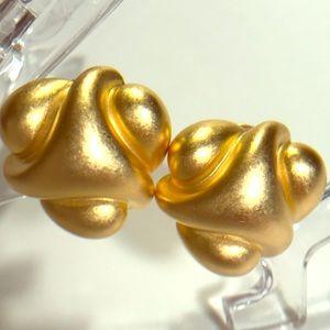 Satin Gold Abstract Button Clip Earrings - KJL